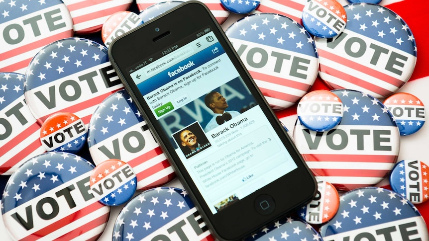 An iphone showing the official Facebook fanpage of US President Barack Obama.