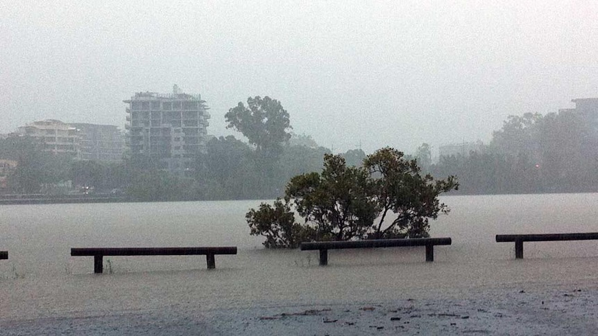 A view of the Brisbane River overflowing from the inner-city suburb of West End.