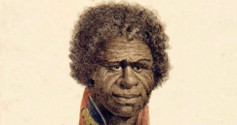 An illustrations shows and Indigenous man wearing the red coat of the British Army