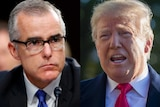 A composite image showing former FBI assistant director and acting director Andrew McCabe, and President Donald Trump.