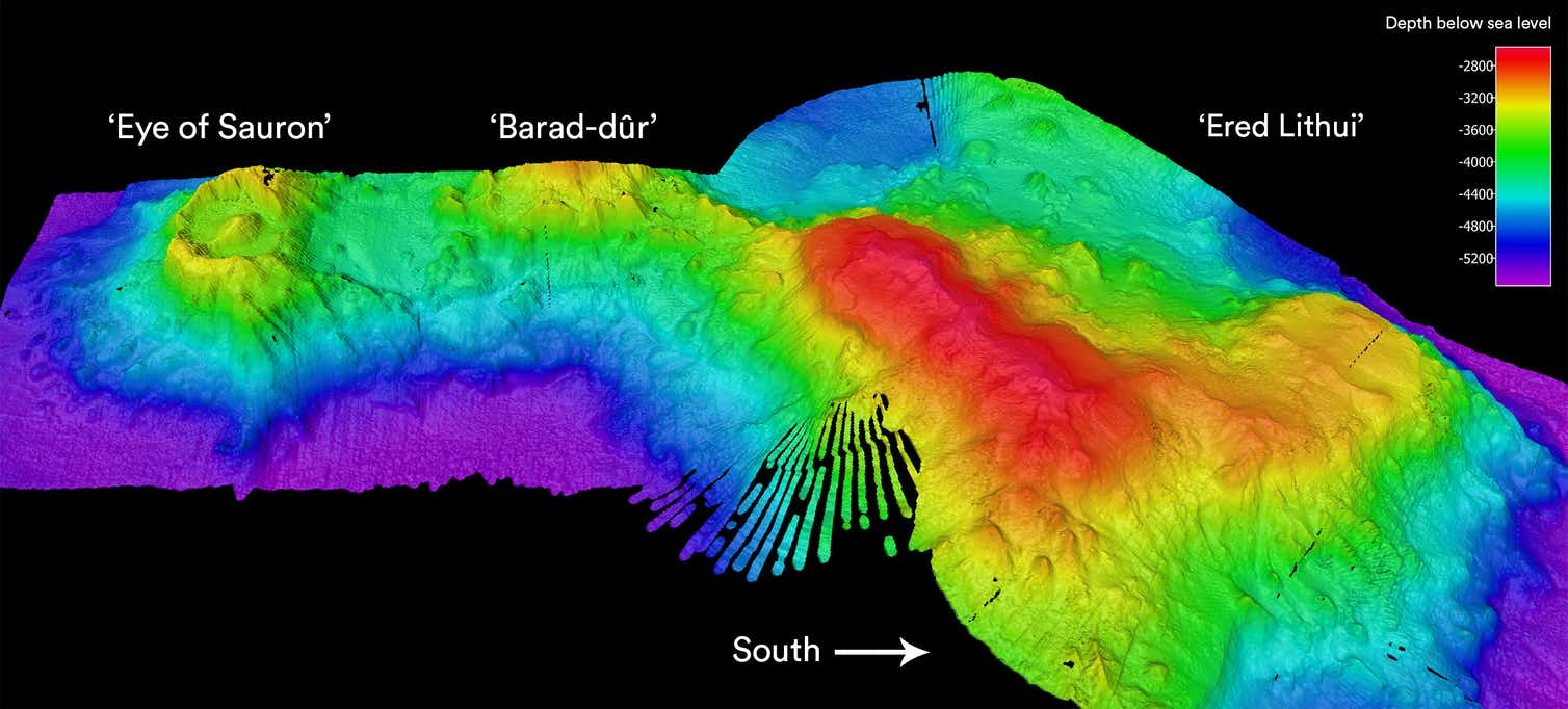 A colourful image of the 'Eye of Sauron' volcano and nearby seamounts