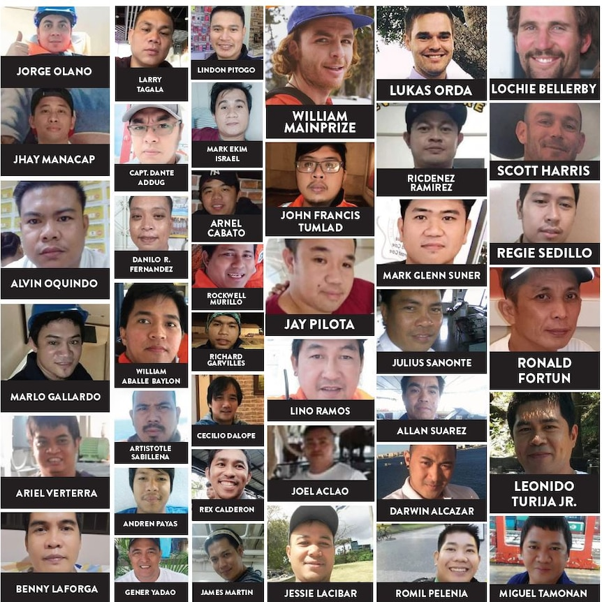 You view a grid of headshots of the 40 men who remain missing at sea because of the Gulf Livestock 1 disaster.