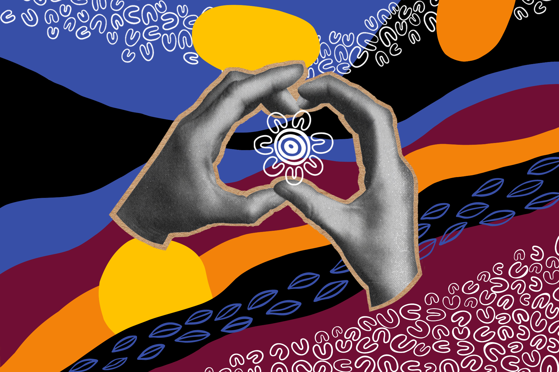 A cutout black and white photo of hands forming shape of Australia sit on top of colourful NAIDOC Week graphics.