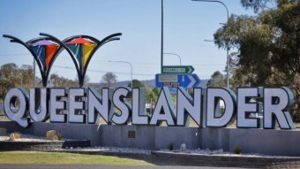 The Queenslander sign in the city of Wallangarra on the NSW-Queensland border in Queensland on 8 October 2020.