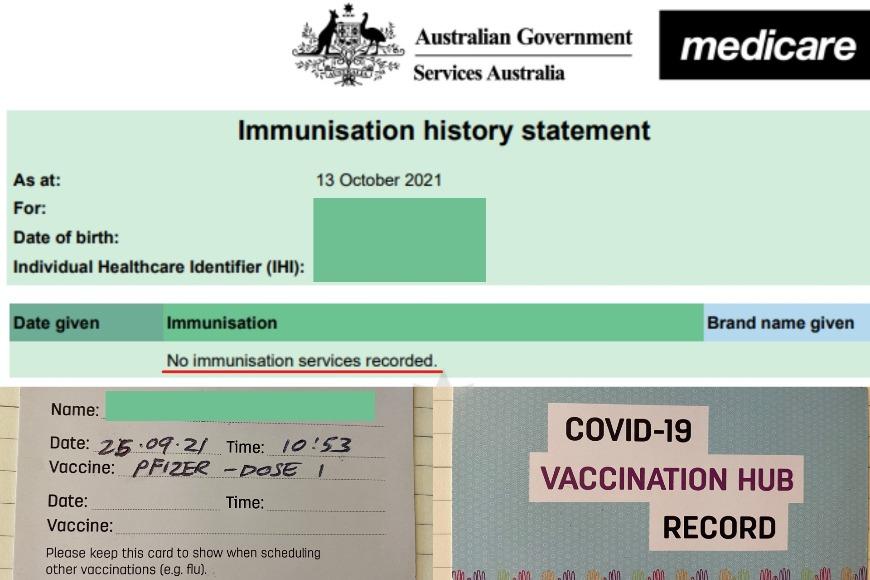 一个已经接种第一剂疫苗但政府记录中没有显示的例子。