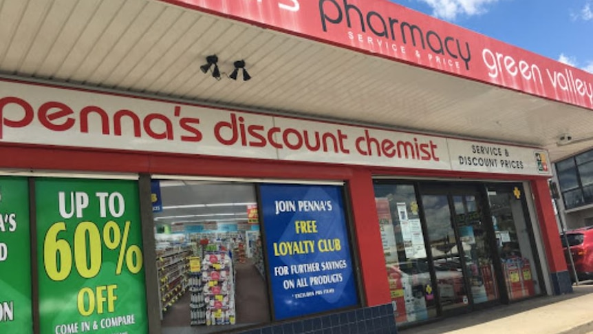 The exterior of Penna's discount chemist shop.
