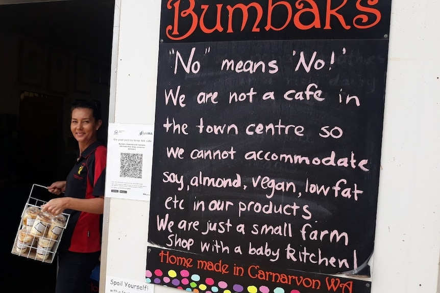 A sign outside a business in Carnarvon