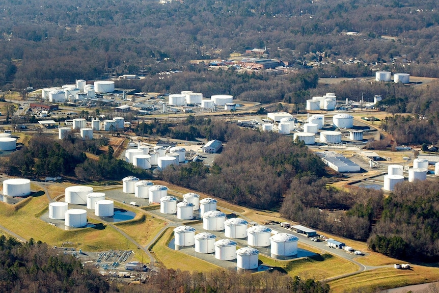 Holding tanks are seen at Colonial Pipeline's Charlotte Tank Farm in Charlotte, North Carolina.