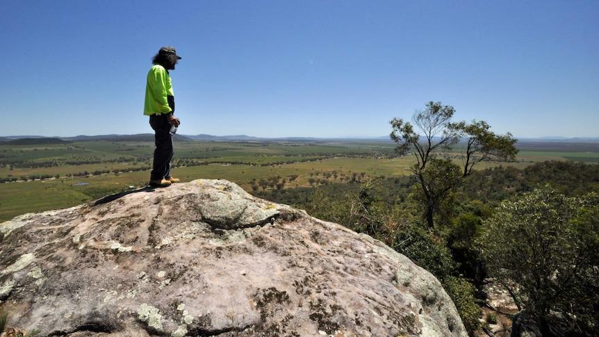 Steve Talbott stands on Watermark Mountain looking towards Caroona.