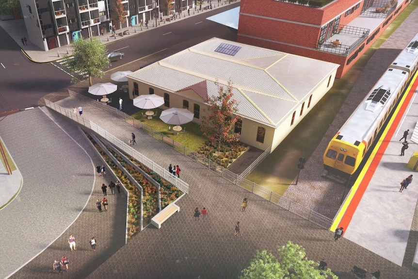 Aerial image of what the new train station will look like.