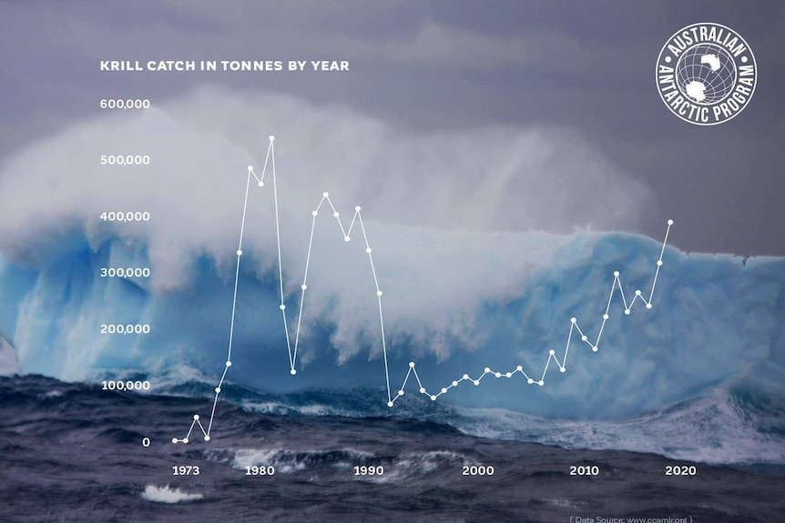 Graph showing krill catch in tonnes by year.