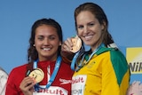 Emily Seebohm on the podium with world championship bronze