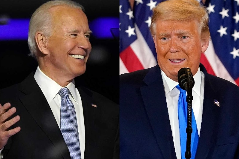 On the left, Joe Biden smiles widely. On the right, Donald Trump looks frustrated.