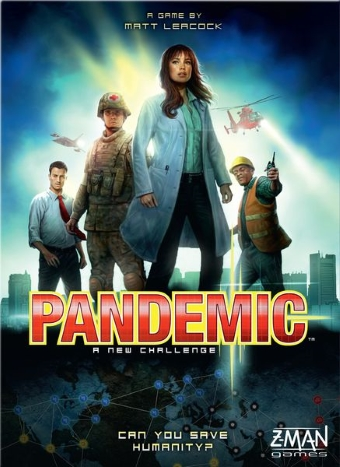 The cover for the board game pandemic with a doctor, soldier, man in suit, construction worker
