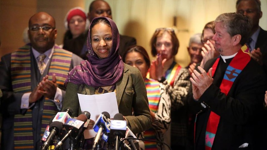 A picture of Dr Larycia Hawkins wearing a headscarf.
