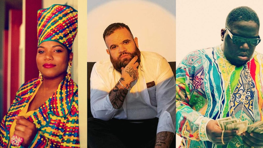Collage of images of Queen Latifah, Briggs and the Notorious B.I.G.