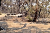 A burned out car on the Upper Hermitage ridge destroyed by bushfires