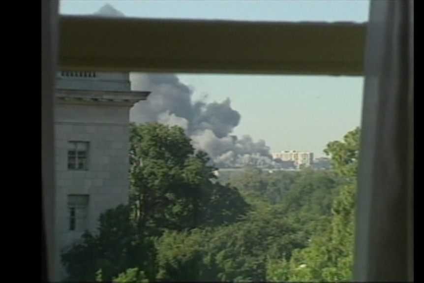 Shot of Pentagon burning on September 11, 2001 from nearby hotel window