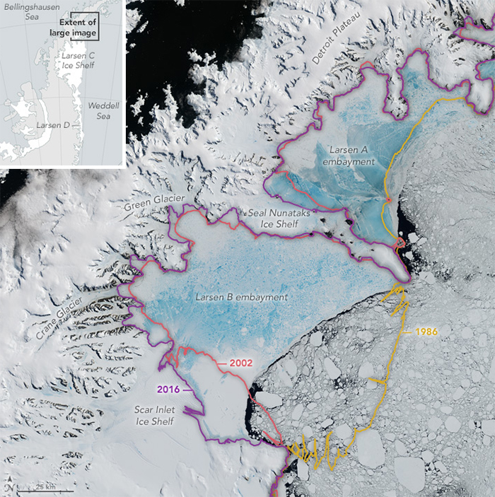 NASA satellite image of Larsen ice shelf