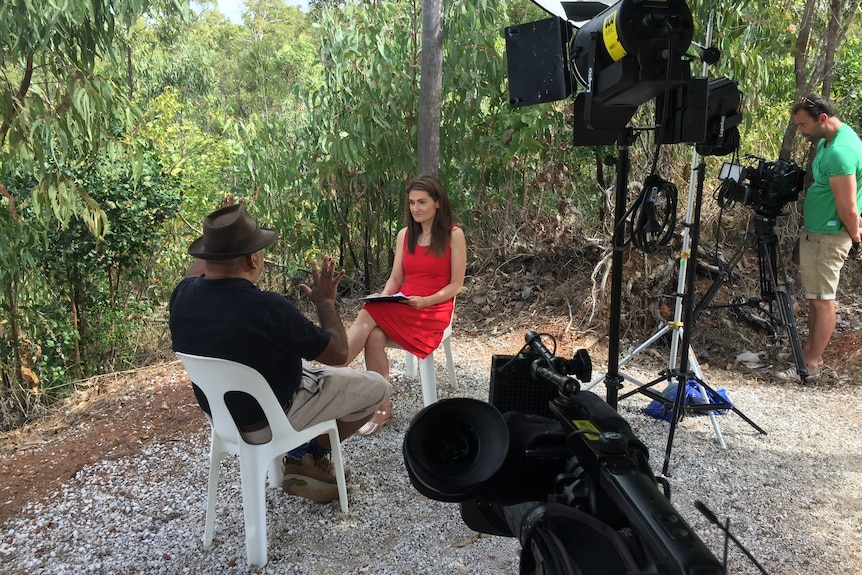 Patricia Karvelas conducts an interview outdoors