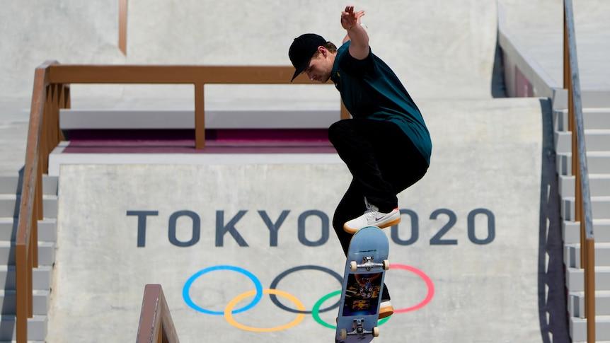 Australia skateboarder performing a trick