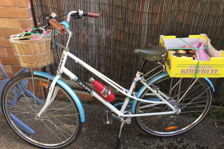 A bicycle with items in front basket and box containing baked goods strapped to pannier rack.