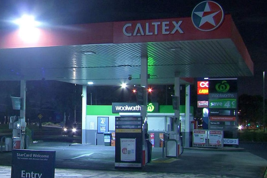 A Caltex service station at night time.