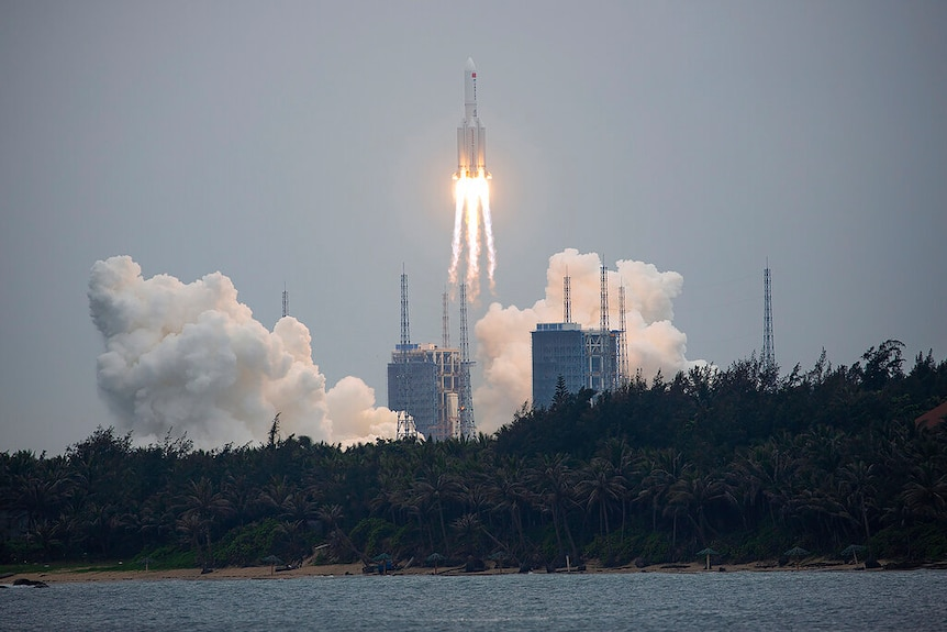 A Long March 5B rocket carrying a module for a Chinese space station lifts off from the Wenchang Spacecraft Launch Site.