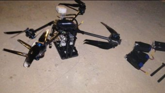 One drone on the ground