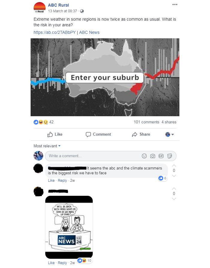A screenshot of the comments section beneath a climate change article.