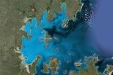 A satellite image of the coast of east Arnhem Land.