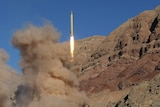 A long-range ballistic missile is launched in northern Iran.