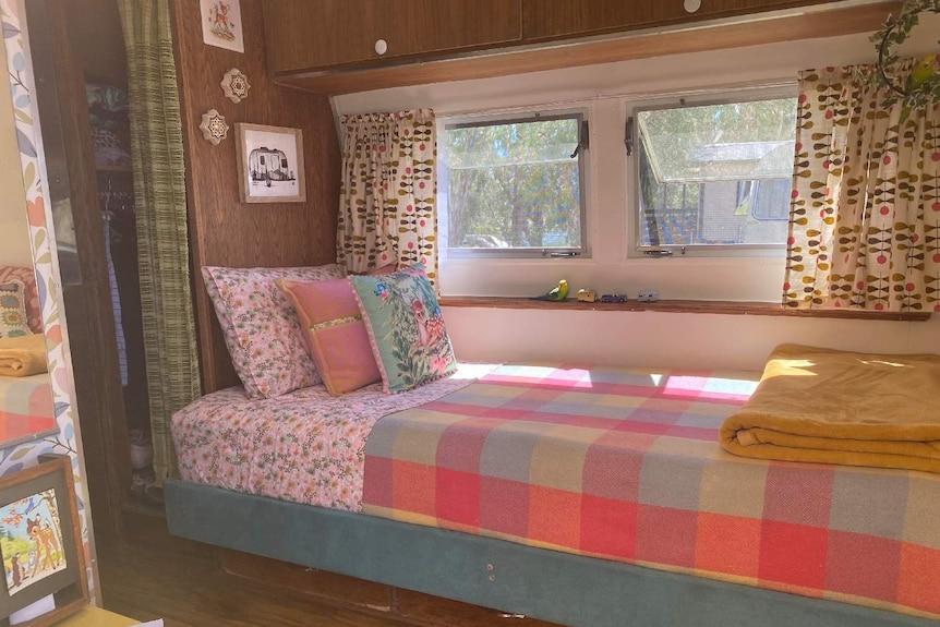 Small bed inside a caravan