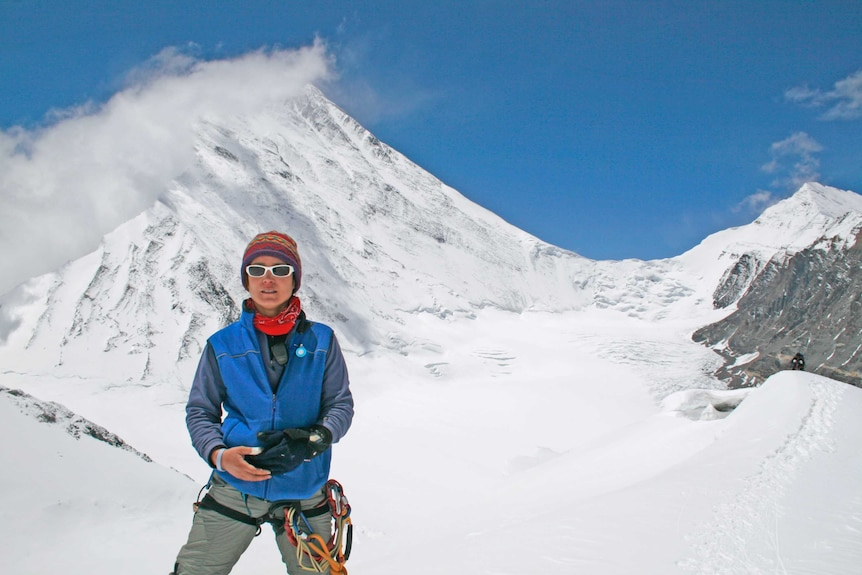 Adelaide's Katie Sarah during a climb on Mount Everest