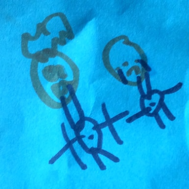 A piece of paper with a child's drawing of a man and a crying child