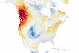 A map showing extreme air temperature over the Pacific northwest in red