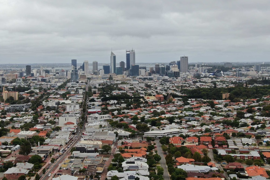 A drone shot of The Perth CBD and surrounding areas with Mount Lawley and Highgate in the foreground.