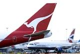 Qantas plane at Heathrow