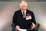 Prince Charles speaks at a lectern with the words 'Deutscher Bundestag' while wearing a range of military medals.