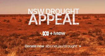 A promotional image for the ABC's drought appeal, with a dry, red-dirt paddock in the background.