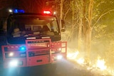 A fire truck stopped on the road next to a fire burning up the mountain.