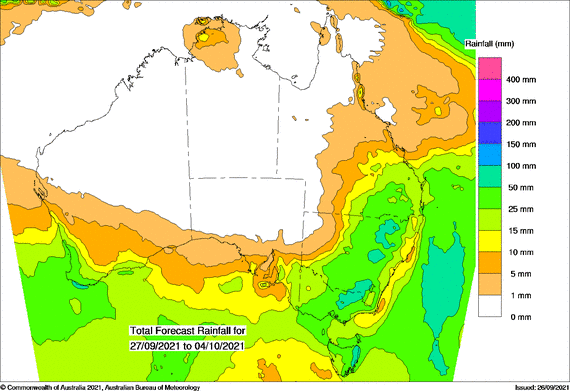 Map of Aus with green from SE SA and TAS sweeping up to southern Queensland indicating heavy falls forecast.