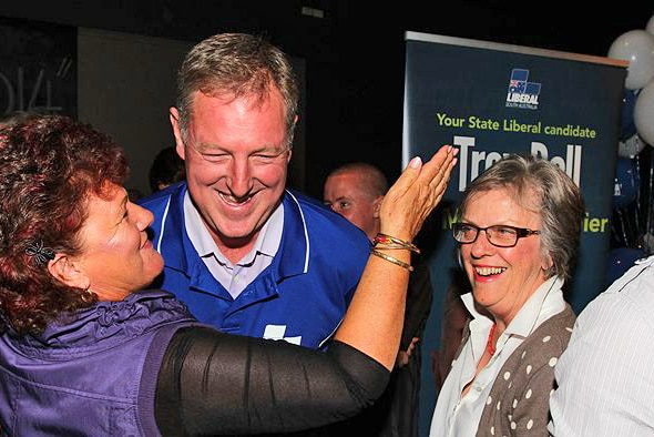 Liberal Troy Bell celebrates on election night