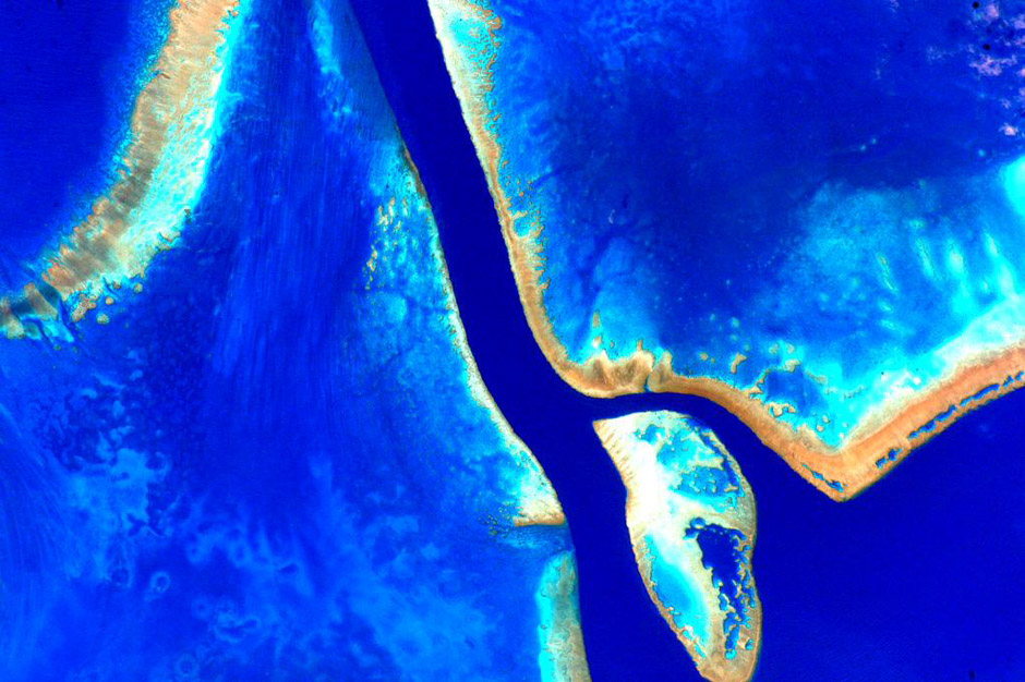 A vibrant colour-enhanced photo the Great Barrier Reef taken from space by astronaut Scott Kelly.
