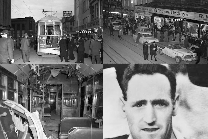 Four black and white photos of a 1960 tram collision in Hobart.