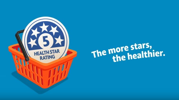 """A screen capture of promotional material from the Health Star Rating System says """"the more stars, the healthier""""."""