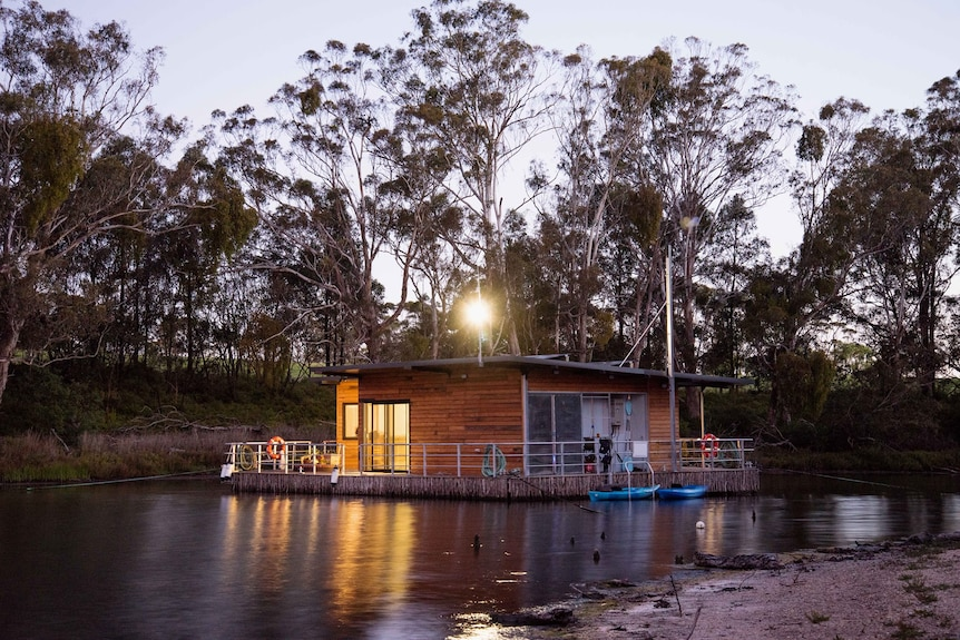Floating art gallery at Gippsland lakes