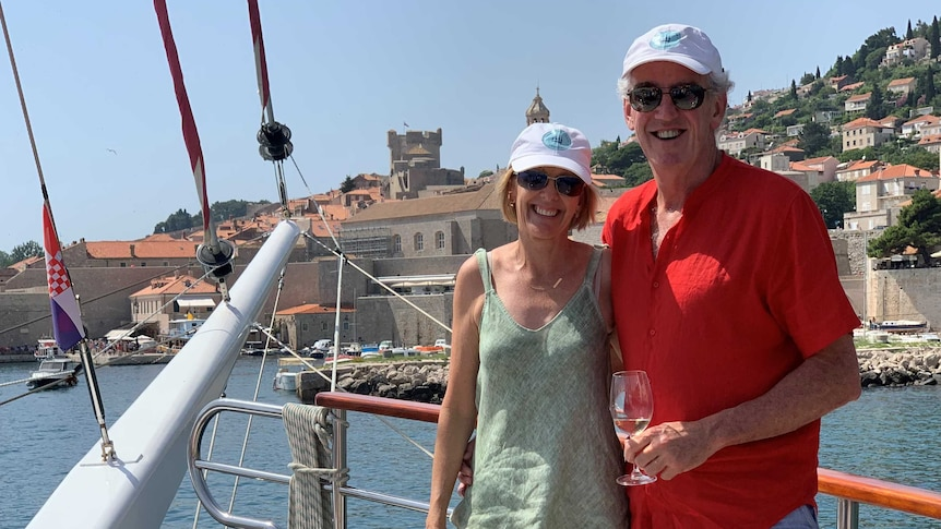 Cruise travel agents Mandy and Mike Dwyer on board a cruise ship in Dubrovnik
