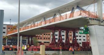 The pedestrian bridge at Florida International University, as it was being built.