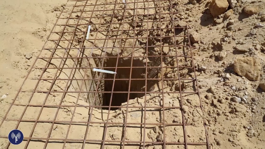 Wire covers the opening of an underground tunnel discovered in Gaza.